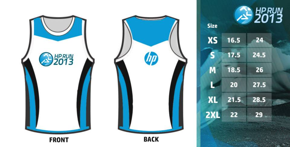 HP Run 2013 Design and Size Chart